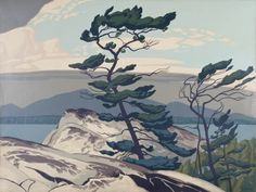 """White Pine,"" Alfred J. Casson, ca silkscreen, 30 x Mayberry Fine Art. Tom Thomson, Illustrations, Illustration Art, Ontario, Art Public, Group Of Seven, Spring Art, Canadian Artists, Canadian Painters"