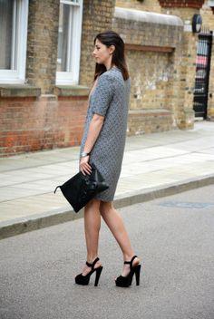@Next shift dress, pistol gun clutch and platform sandals #ejstyle #fashionblogger #streetstyle