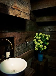 Not sure whose downstairs loo this is but like the use of dark recycled wood. My downstairs loo - cabin style! Interior Styling, Interior Decorating, Interior Design, Interior Ideas, Wood Cladding, Abigail Ahern, Downstairs Loo, Wooden Bathroom, Dark Interiors