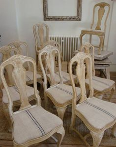 set of 10 bleached oak Swedish chairs, Appley Hoare Antiques Furniture Fix, Diy Furniture Projects, Garden Projects, Painted Furniture, Sillas Chippendale, Antique French Furniture, Settees, French Home Decor, Annie Sloan