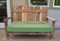 Pallet wood patio chair build – part 2 – Funky Junk Interiors - Dekoration Ideen Wood Patio Chairs, Pallet Patio Furniture, Furniture Plans, Pallet Chair, Furniture Chairs, Funky Junk Interiors, Open Air, Wood Pallets, Pallet Wood