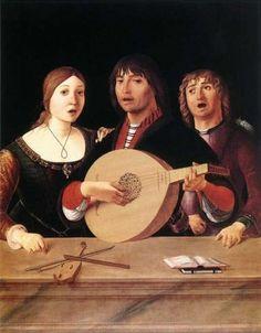 A Concert ~ ca.1485-95 ~ Lorenzo Costa (Italian, 1460-1535) ~ was an Italian painter of the Renaissance.