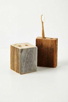 Toothbrush holder - reclaimed wood