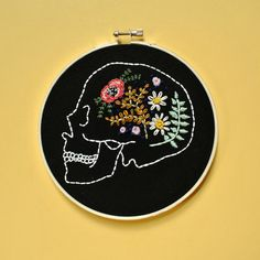 Custom Flower Skull Embroidery / by RehabbedHandmadeShop on Etsy