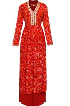 Red gota patti work bandhini kalidaar palazzos set at Pernia's Pop Up Shop.