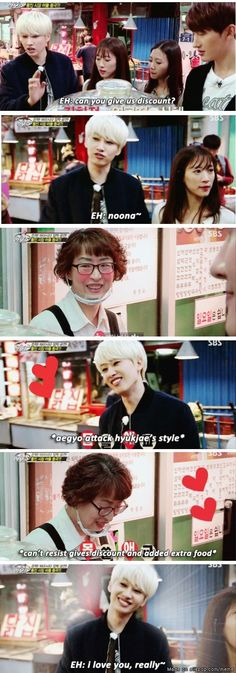 Eunhyuk teaching us how to get a discount~