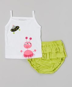 White Alien Tank & Lime Ruffle Diaper Cover - Infant #zulily #zulilyfinds