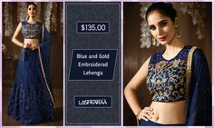 Blue and Gold Embroidered Lehenga  Master the chic and casual mix in this blue and gold #EmbroideredLehenga. #Gorgeous #IndianFashion #BeautifulYou #Lashkaraa  Shop At: https://www.lashkaraa.com/blue-and-gold-embroidered-lehenga.html