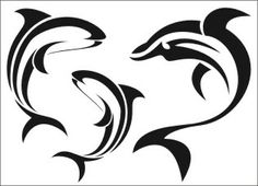 dolphin stencil | Details about Dolphin Airbrush Stencil Template Paint Tattoo Painting ...