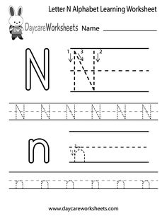 Preschoolers can color in the letter N and then trace it following the stroke order with this free alphabet worksheet. Learn the alphabet with printables.