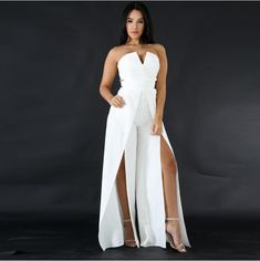 aeaaccf6fcf6 MUXU white jumpsuit europe and the united states jumpsuits rompers wide leg  jumpsuit v neck body backless bodysuit overall 2018 - TOKOKUTOKO