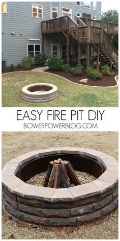 Easy Fire Pit DIY!  This looks great and works awesome for any back yard.  Round family friendly fire pit you can build in a weekend!
