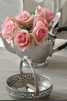 I love any old silver.  And pink roses, too, thank you.