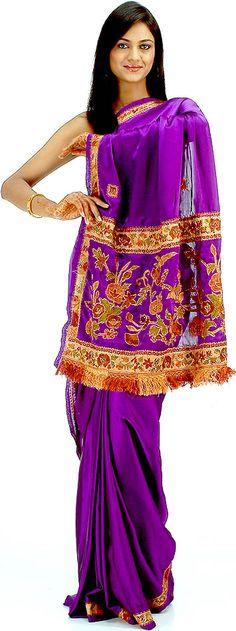 Purple Sari with Beads and Threadwork