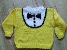 Wełnomaniaczka: Żółty sweterek z muszką http://welnomaniaczka.blogspot.com/