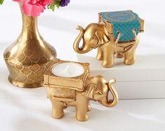 Lucky Elephant Golden Tealight Gold Candle Tea by TaaraBazaar
