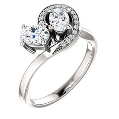 0.75 Ct Oval Ring 14k White Gold