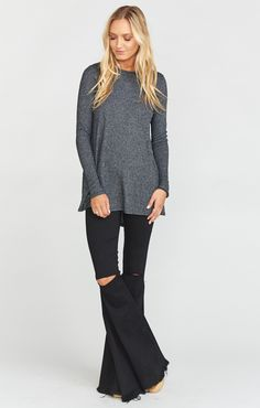 Lewis Top might turn into your weekend slash late night jersey. Go ahead and make it a full on uniform with your Sahara Sweatpants. It's absolutely impossible not to be completely comfy and relaxed with her. #newbestfriend *MADE IN THE GORGE USA* *76% Rayon, 21% Poly, 3% Spandex