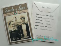 "Seed packet ""seeds of love"" bridal shower invitations"