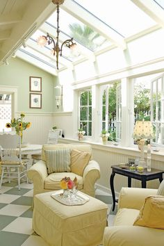 Sunroom Decorating Ideas: Let see how two homeowners Sue and Rick converted there old care garage into a naturally and stylish sunroom.