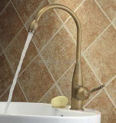 Bathroom Faucet / Kitchen Sink 360 Swivel Spout Deck Mounted Single Hole Vessel Sink Classic Antique Brass Mixer Taps Wnf004 #Affiliate