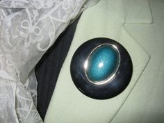 Vintage Plastic Brooch Round Brooch Peacock Eye by LeChatCrochet
