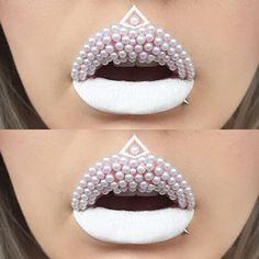 🦄❄️PEARL LIPS❄️🦄 I used @jeffreestarcosmetics velour liquid lipstick in druglord and pearls from @vwalanailsupply ✨  #makeupartistsworldwide #makeupartist #vegas_nay #wakeupandmakeup #fiercesociety #dressyourface #hudabeauty #lipart #lips