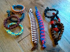 A terrible photo of some of the bracelets I made to sell for a Children in Need charity event at work