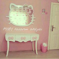 Hello Kitty Temalı Çocuk Odası ❤ Four Square, Hello Kitty, Rooms, Chair, Kids, Furniture, Home Decor, Bedrooms, Young Children