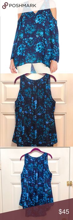 Philosophy Cold-Shoulder Floral Top, NWT! NWT Philosophy Cold-Shoulder Blue Floral Top, size small!   Flowy feel and a slight hi-lo cut. 100% polyester. Philosophy Tops Blouses