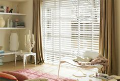 White wooden venetian blinds combined with curtains  What do u think