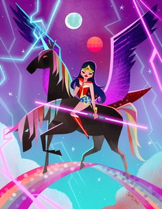 """""""Since Its comic con week. here's Wonder woman riding a 2 headed black rainbow pega unicorn while holding a 2 head lightsaber."""""""