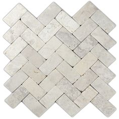 Cream herringbone stone mosaic tile... for the floor? for the island wall? for the backsplash?