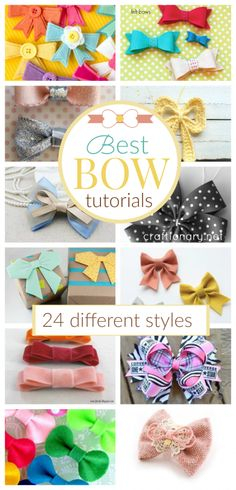 Best bow tutorials with 24 different styles to make a bow Diy Bow, Diy Ribbon, Ribbon Crafts, Ribbon Bows, Diy Crafts, Fabric Hair Bows, Diy Hair Bows, Felt Fabric, Fabric Paper