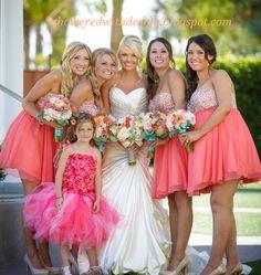 Coral Bridesmaid Dresses #coral #bridesmaids #bridesmaiddress showeredwithdesign.blogspot.com