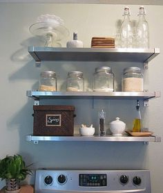 Awkward space over the vintage oven?? Use metal Ikea Shelf for Hanging Pans