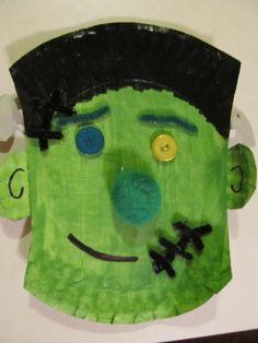 Frankenstein paper plate #Halloween #Frankenstein #preschoolart #monster