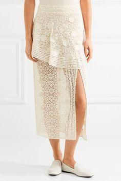 Stella McCartney | Appliquéd cotton-blend lace midi skirt | NET-A-PORTER.COM