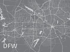 DallasFort Worth Metropolitan Artistic Map 18 x 24 by MapHazardly