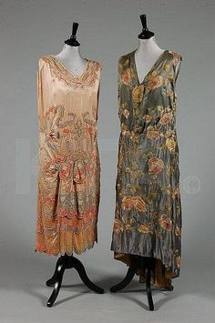 Gorgeous embroidered silk evening dresses from the 1920's