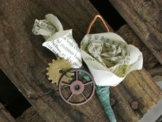 Steampunk vintage book page boutonnieres by HBixbyArtworks on Etsy, $16.00