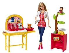 Explore new careers in depth with the Barbie Careers complete play sets! Choose from a zoo doctor and a babysitter. Each is ready to achieve her career dreams wearing an outfit that is both fun-ctiona... Barbie Doll Set, Barbie Sets, Barbie I, Barbie House, Barbie World, Barbie Stuff, Barbie 2013, Toys For Girls, Kids Toys