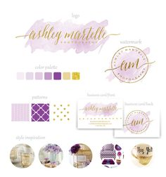 I don't like the watercolor look but fun having options.  Branding Package  Watercolor branding  Gold and by MerryElleDesign