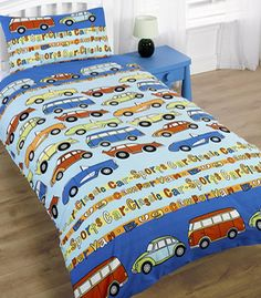 Cars and Camper Van Single Bedding - http://www.childrens-rooms.co.uk/cars-and-camper-van-single-bedding.html #cars #campervan #boysbedding