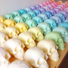These cute little soy-wax Skull candles are available in a variety of scents & colours. You choose!  They are made with 100% soy wax with natural dyes, are hand-poured & will burn for 10-15 hours. Thats if you can bring yourself to burn them! Current scents include : Vanilla, Coconut, Cherry, Raspberry, Orange & Cinnamon, Bubblegum, Peppermint and Sweet Almond, Cotton Candy, Parma Violets and Strawberries & Cream and more! All candles are made to order.  The exact dimensions of the candle…