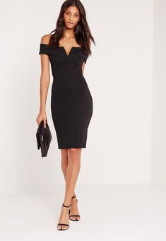 Max out your wardrobe and own the night in this babin' beaut! Featuring a classic black hue, sweet bardot neckline, midi length and v-front, you'll be channelling maximum sexy vibes. Style with barely there heels and a matching clutch! Lil Black Dress, Perfect Little Black Dress, Black Midi Dress, Black Cocktail Dress Outfit, Grad Dresses, Dress Outfits, Fashion Dresses, Dress Up, Formal Dresses