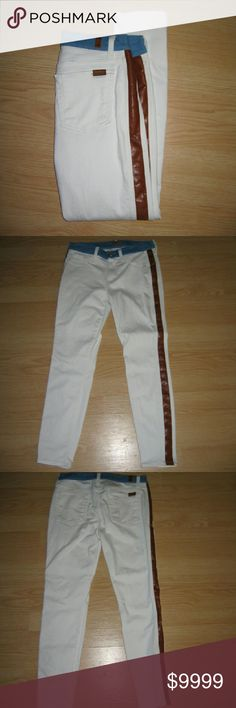 "7 For All Mankind White Skinny Jeans These jeans are preloved but still look brand new, hardly any wear at all. These are the Mid Rise Skinny Ankle in White with Faux Leather Trim and Contrast Denim Waistband. Made of 92% cotton 6% polyester 2% spandex, contrast denim is 93% cotton 5% polyester 2% spandex, faux leather is 100% polyurethane. Tag size is 29.  Waist across with natural dip is 14"" Waist across when aligned is 14.5"" Front Rise is 8.5"" Inseam is 26"" 7 for all Mankind Jeans Skinny"