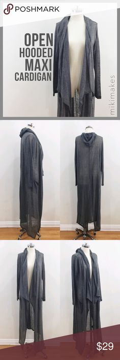 🆕 H&M • long grey open cardigan with hood • The perfect sweater duster • Asymmetric draped hem • Has hood and two front pockets • Lightweight fabric • Layer under a leather jacket  80% acrylic 20% polyester Machine wash warm  @mikimakes • Feel free to ask any questions • I don't trade H&M Sweaters Cardigans