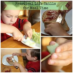 Practical Life Skills: Meal Time Prep  (This blog has lots of other good ideas for sensory learning, practice w/ fine motor skills, etc. PNRL.)