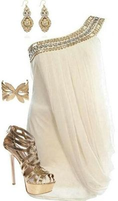White goddess club dress- hate the shoes love everything else!